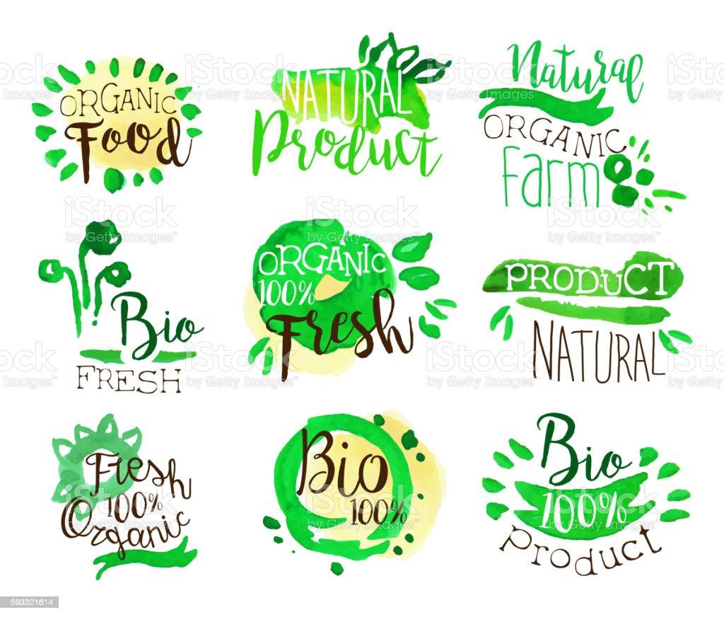 Organic Farm Food Promo Signs Colorful Set vector art illustration
