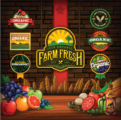 A collection of organic farm fresh labels, vectored fruits & vegetables. EPS 10 file, layered & grouped, with meshes and transparencies (shadows & overall effects only).