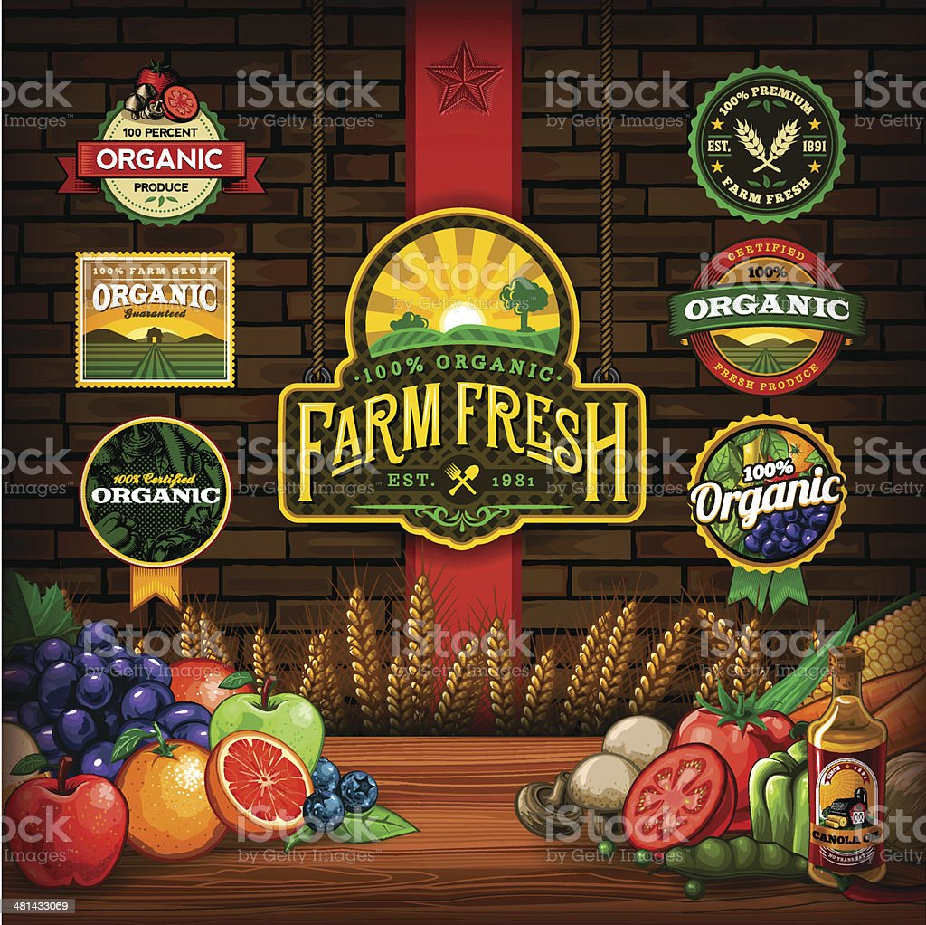 Organic Farm Fresh Design Elements vector art illustration