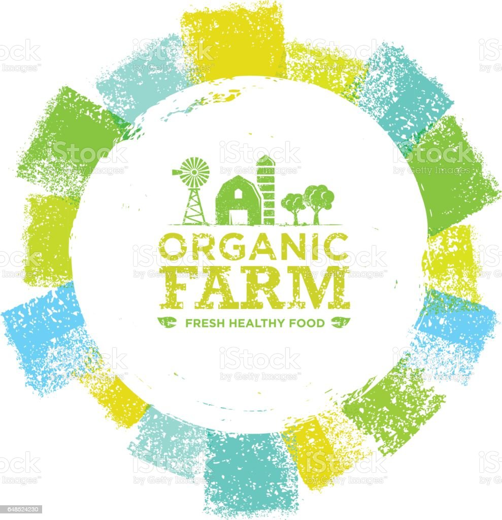 Organic Farm Fresh Healthy Food Eco Green Vector Concept on Paper Background. vector art illustration