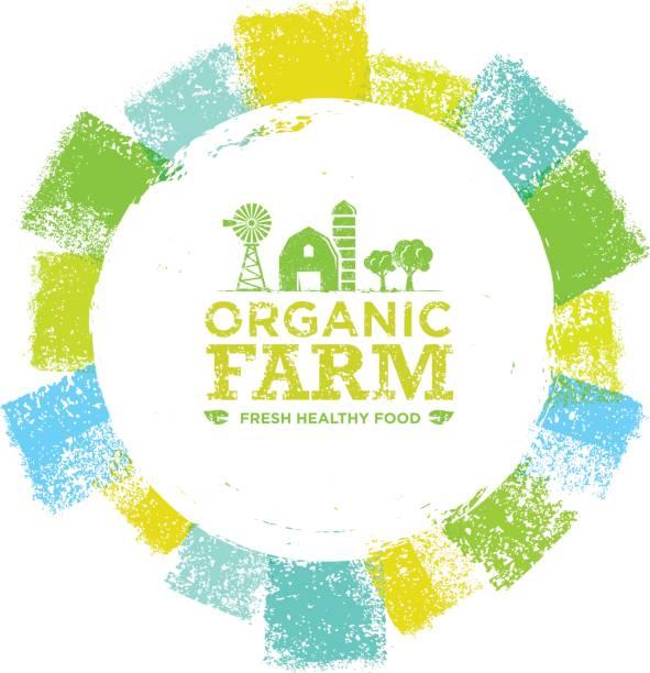 Organic Farm Fresh Healthy Food Eco Green Vector Concept on Paper Background. Organic Farm Fresh Healthy Food Eco Green Vector Concept on Paper Background organic farm stock illustrations