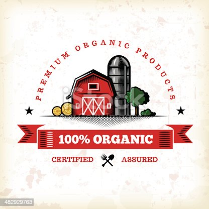 A vintage styled organic farm fresh label. EPS 10 file, layered & grouped, with meshes and transparencies (shadows & overall effects only).