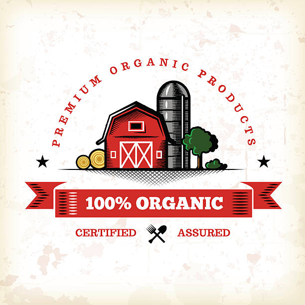 Organic Farm Fresh Label 7 A vintage styled organic farm fresh label. EPS 10 file, layered & grouped, with meshes and transparencies (shadows & overall effects only). organic farm stock illustrations