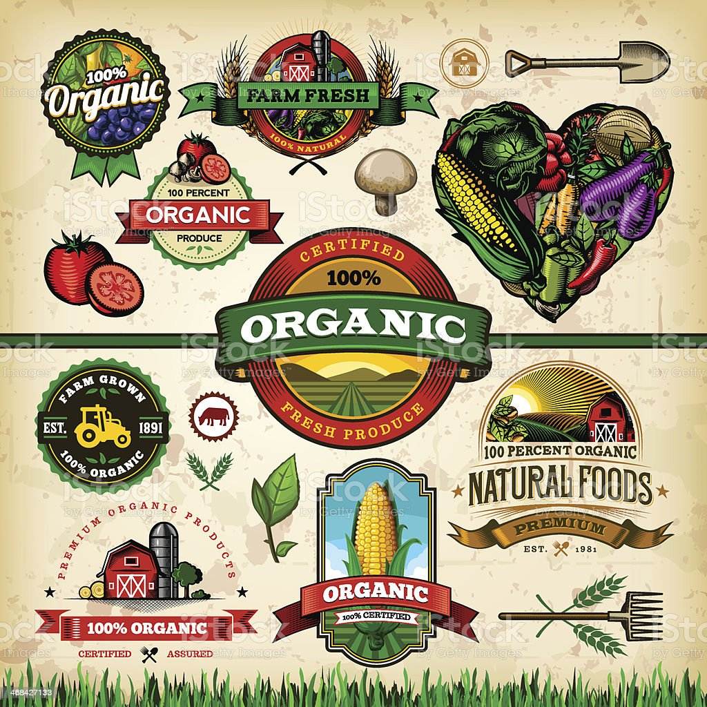 Organic Farm Fresh Label Set 1 vector art illustration