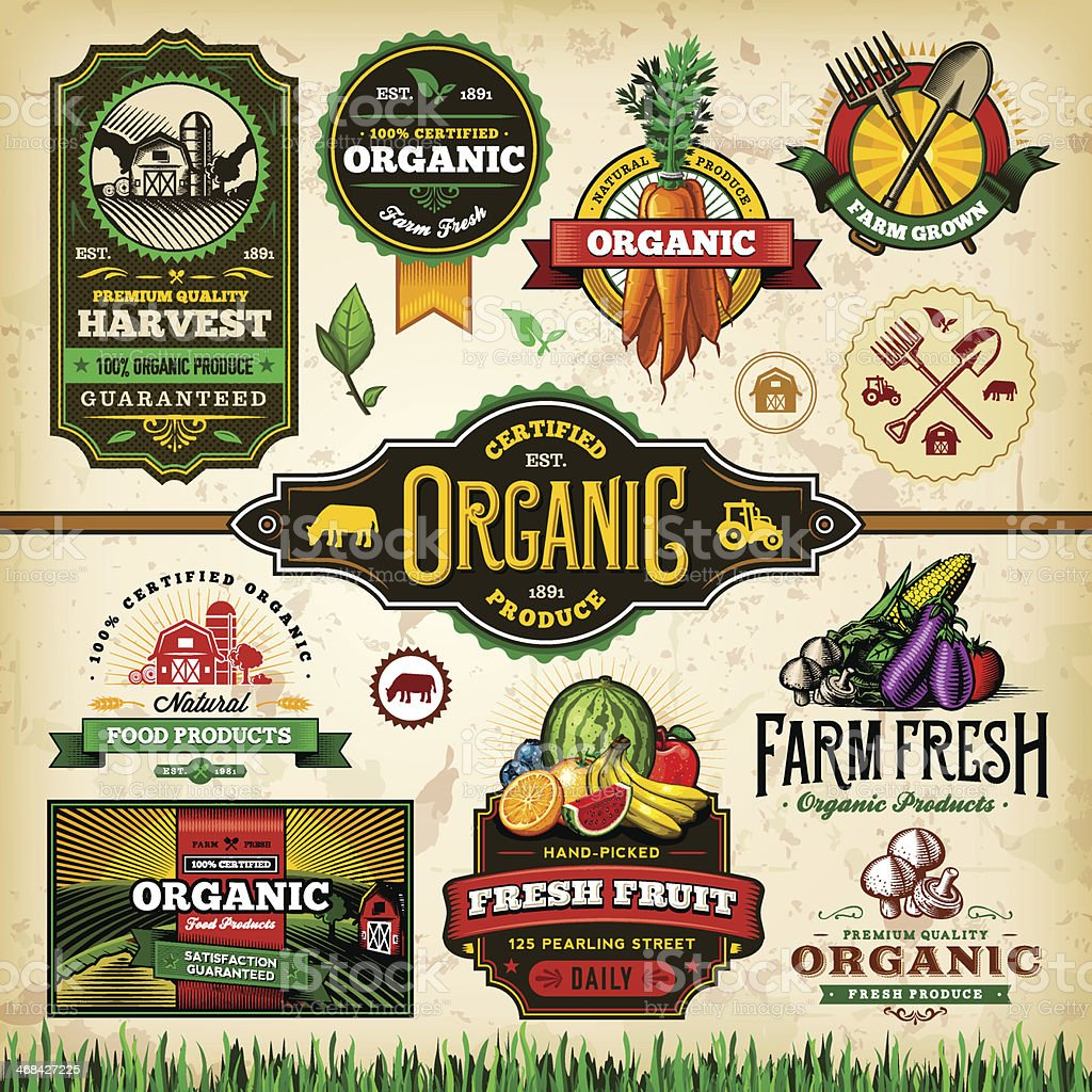 Organic Farm Fresh Label Set 3 vector art illustration
