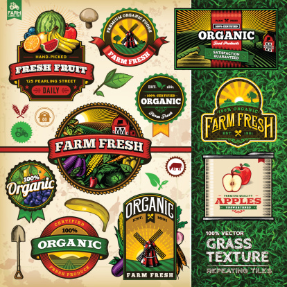 A collection of organic farm fresh labels, badges and illustrations. A tilable vector grass texture is included. EPS 10 file, layered & grouped, with meshes and transparencies (shadows & overall effects only).