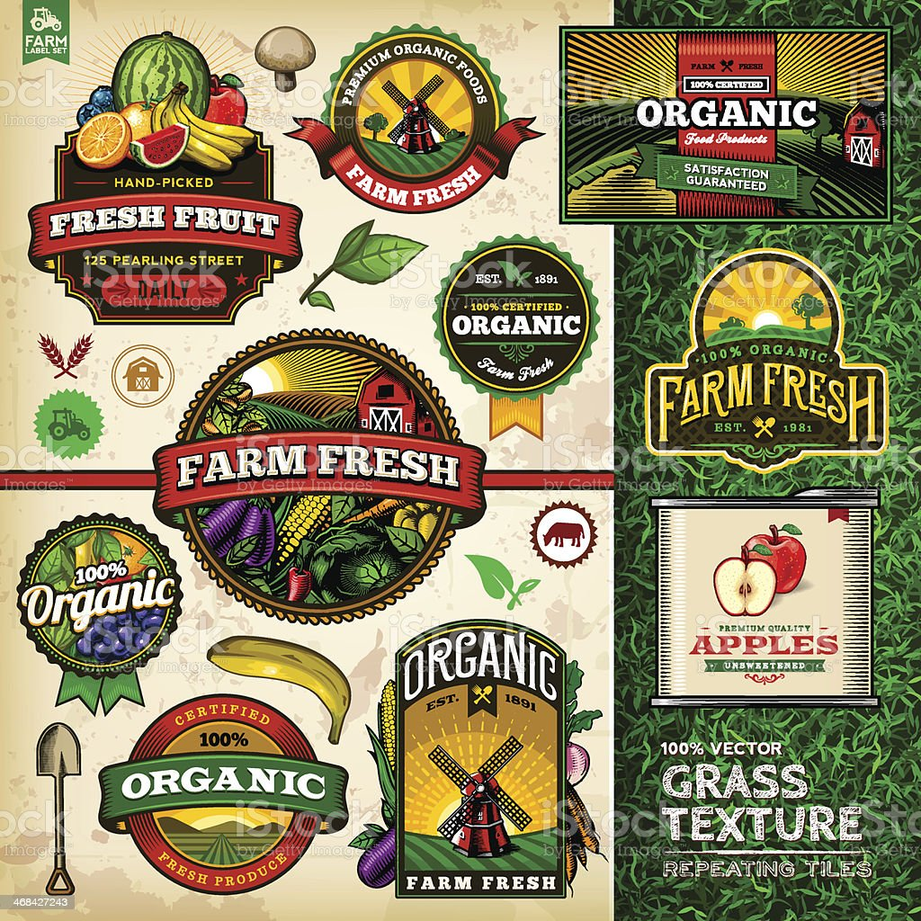 Organic Farm Fresh Label Set 4 vector art illustration