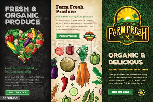 A collection of organic farm fresh web banners. EPS 10 file, layered & grouped, with meshes and transparencies (shadows & overall effects only).
