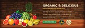 An organic farm fresh web banner. EPS 10 file, layered & grouped, with meshes and transparencies (shadows & overall effects only).