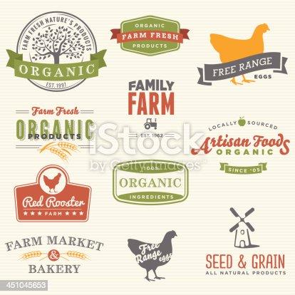 Set of organic farm labels.