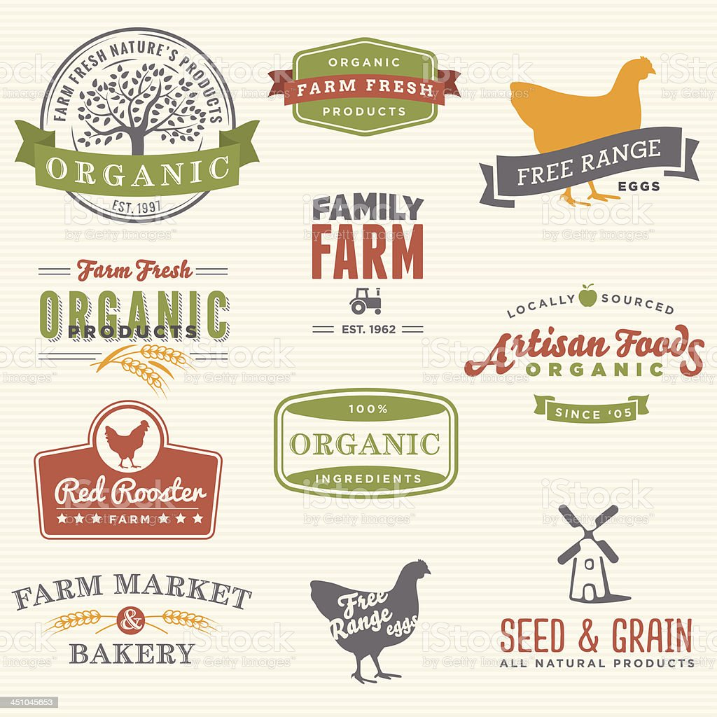 Organic Farm Labels vector art illustration