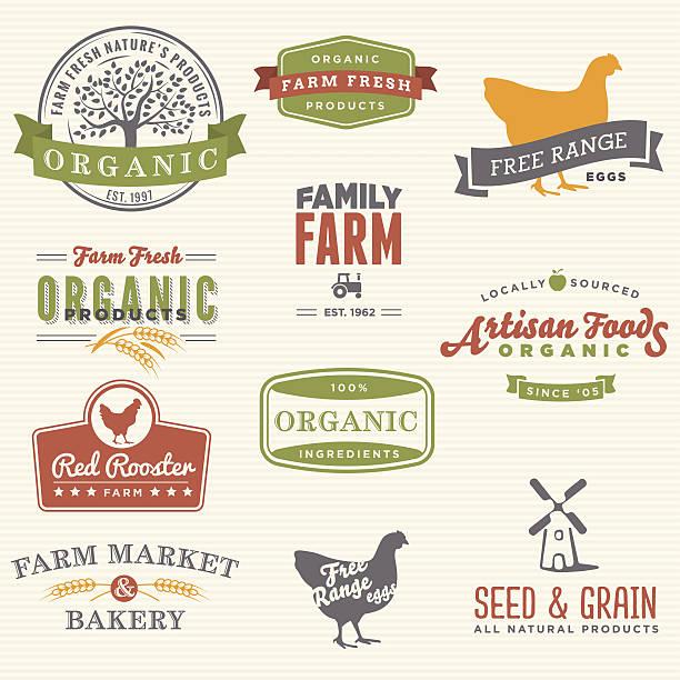 illustrazioni stock, clip art, cartoni animati e icone di tendenza di fattoria biologica etichette - organic food