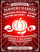 Organic Farmers Market Poster on Red Background