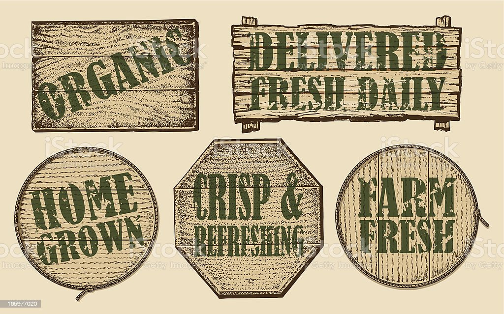 Organic Farmers Market Wooden Signs royalty-free organic farmers market wooden signs stock vector art & more images of agricultural fair