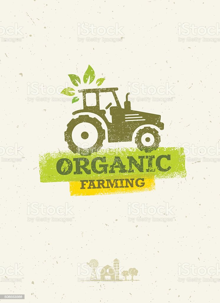 Organic Farming Eco Tractor Creative Vector Concept vector art illustration