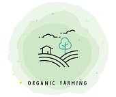 Organic Farming Icon with Watercolor Patch