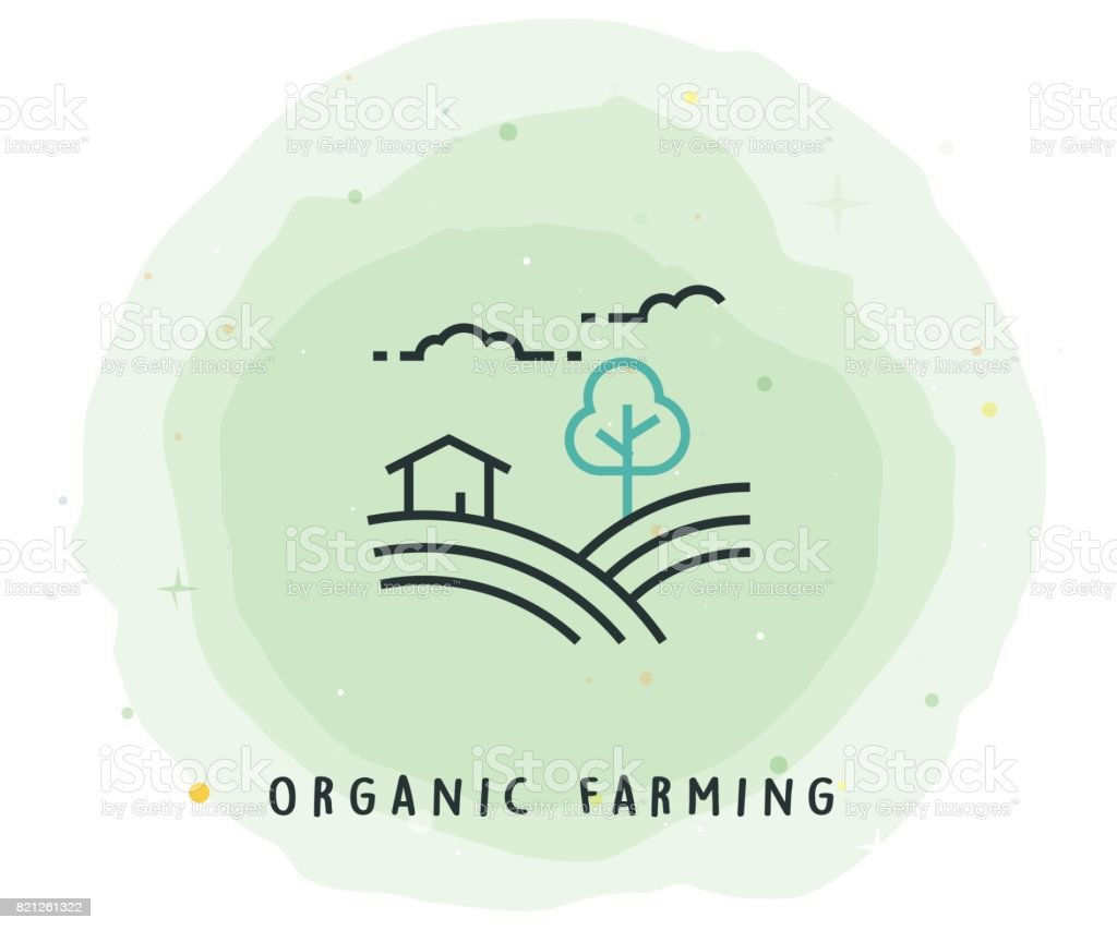 Organic Farming Icon with Watercolor Patch vector art illustration