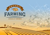 Vintage organic farming label with landscape in woodcut style. Editable vector illustration with clipping mask. Includes high resolution JPG.