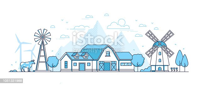 Organic farming - modern thin line design style vector illustration on white background. Blue colored composition with windmill, barn, cow, silhouettes of hills, wind power generators. Eco concept