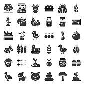 organic farming products icon, such as hen, milk, orange, tomato, honey, sheep, eggs, solid icon