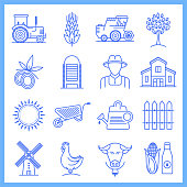 Organic farming and sustainable agriculture blueprint style concept outline symbols. Line vector icon sets for infographics and web designs.