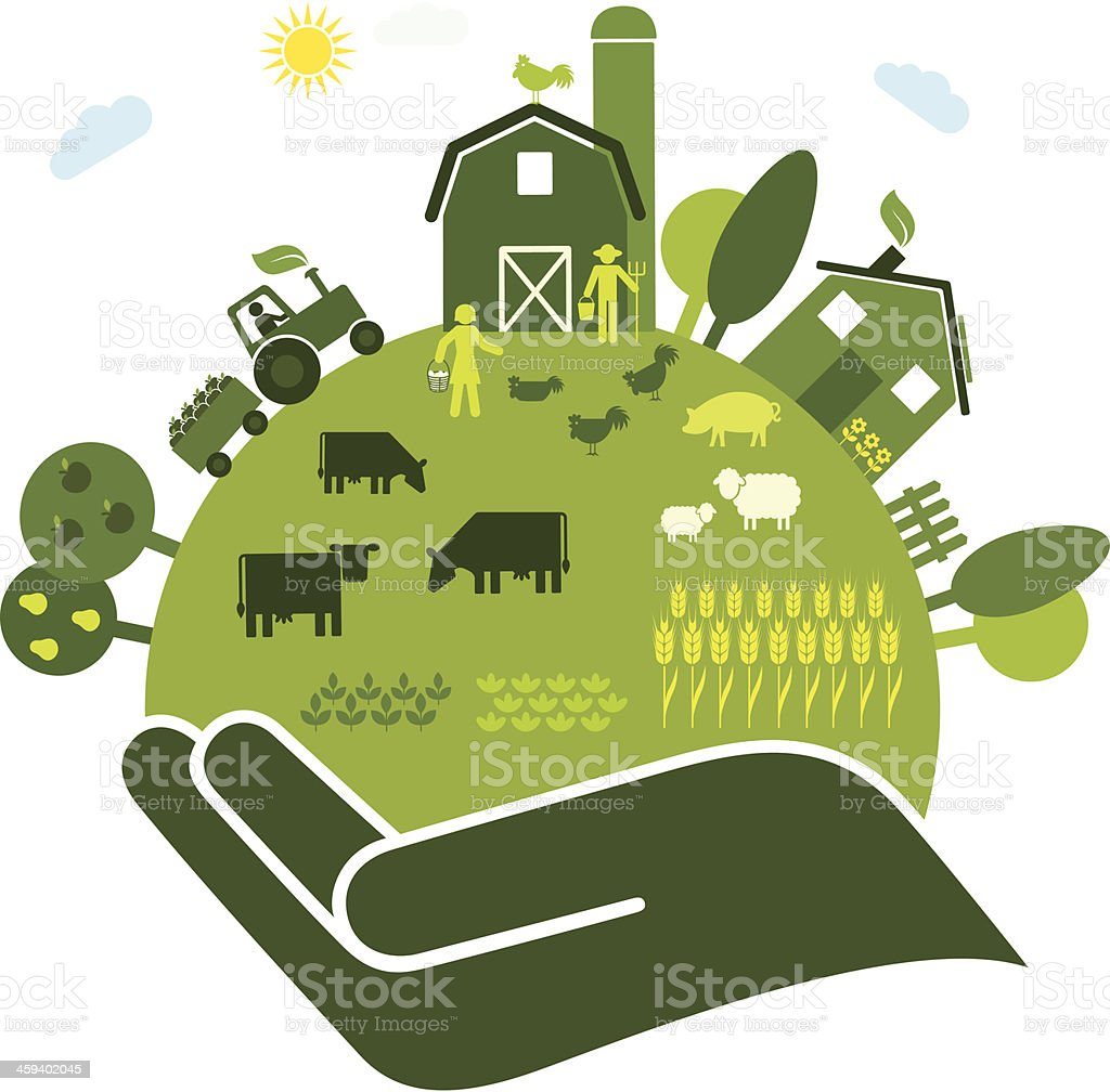 Organic Farming vector art illustration