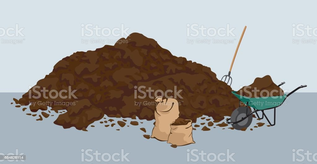 Organic farmyard manure vector art illustration