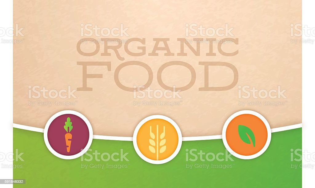 Organic Food and Farming Background vector art illustration