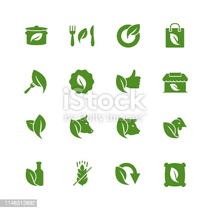 Organic Food and Store Related Icon Set in Glyph Style