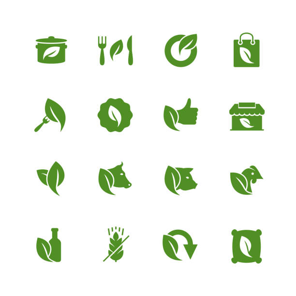 organiczna żywność i sklep pokrewny zestaw ikon w stylu glifi - jedzenie wegetariańskie stock illustrations