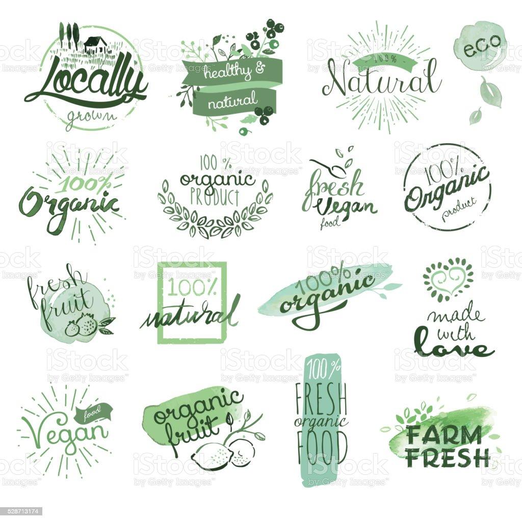 badges d'aliments biologiques et des éléments - Illustration vectorielle