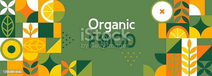 istock Organic food banner in flat style. 1290991840