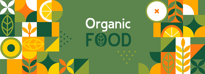 Organic food banner in flat style.