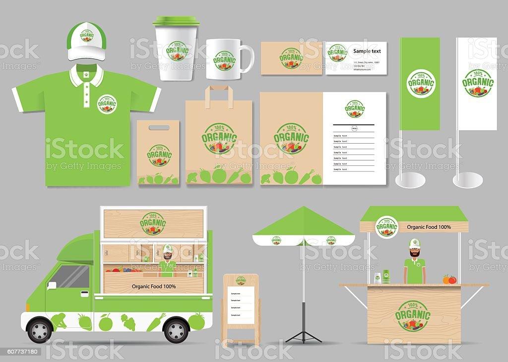 Ilustracion De Organic Food Branding Identity Mock Up Y Mas Vectores Libres De Derechos De Alimento Istock