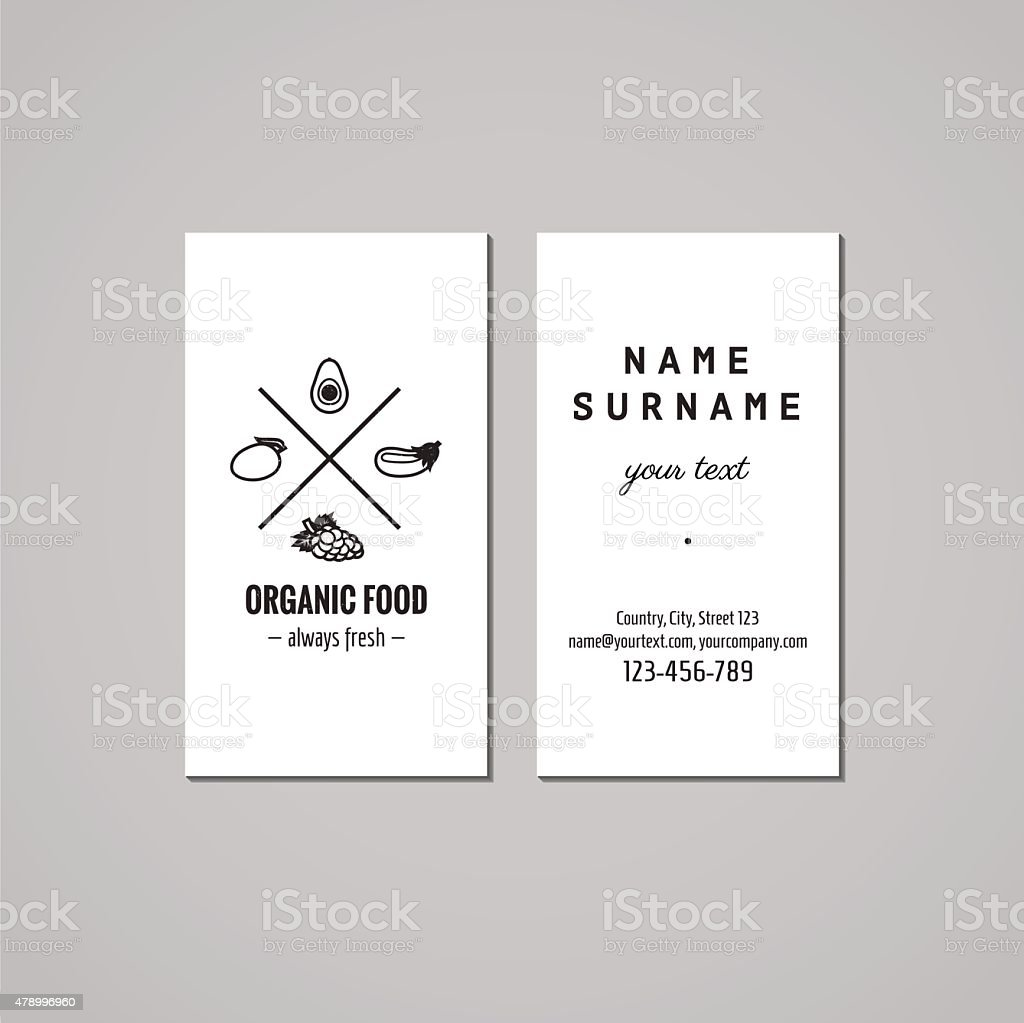Organic Food Business Card Design Concept Healthy Food Logo