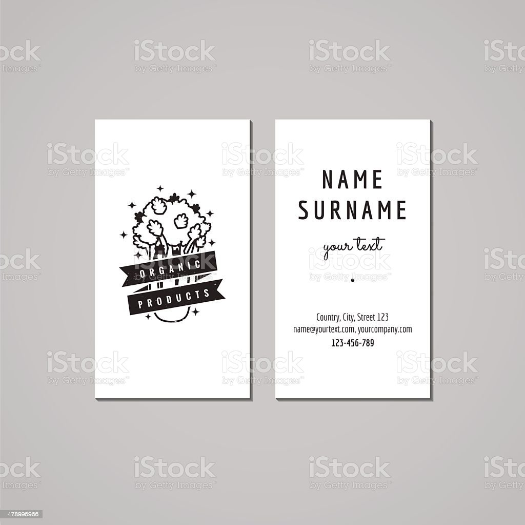 Organic Food Business Card Design Concept Logo With Celery Stock ...