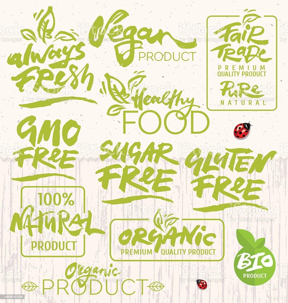 Alimentos orgánicos caligrafía - ilustración de arte vectorial