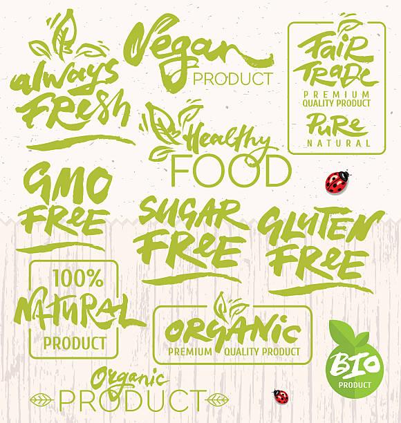 ilustraciones, imágenes clip art, dibujos animados e iconos de stock de alimentos orgánicos caligrafía - comida casera