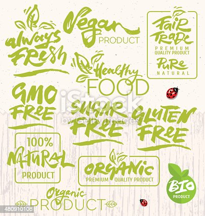 Organic Food Calligraphy Stock Vector Art More Images Of