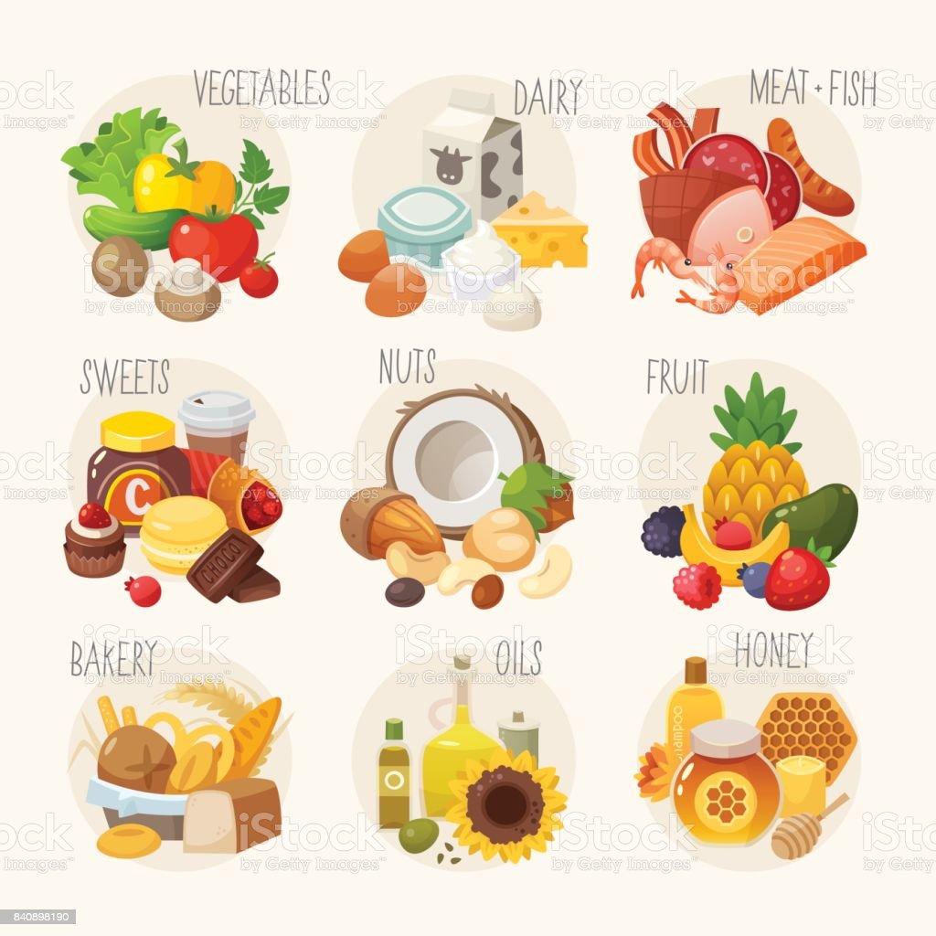 Categorias de alimentos orgânicos. - ilustração de arte em vetor