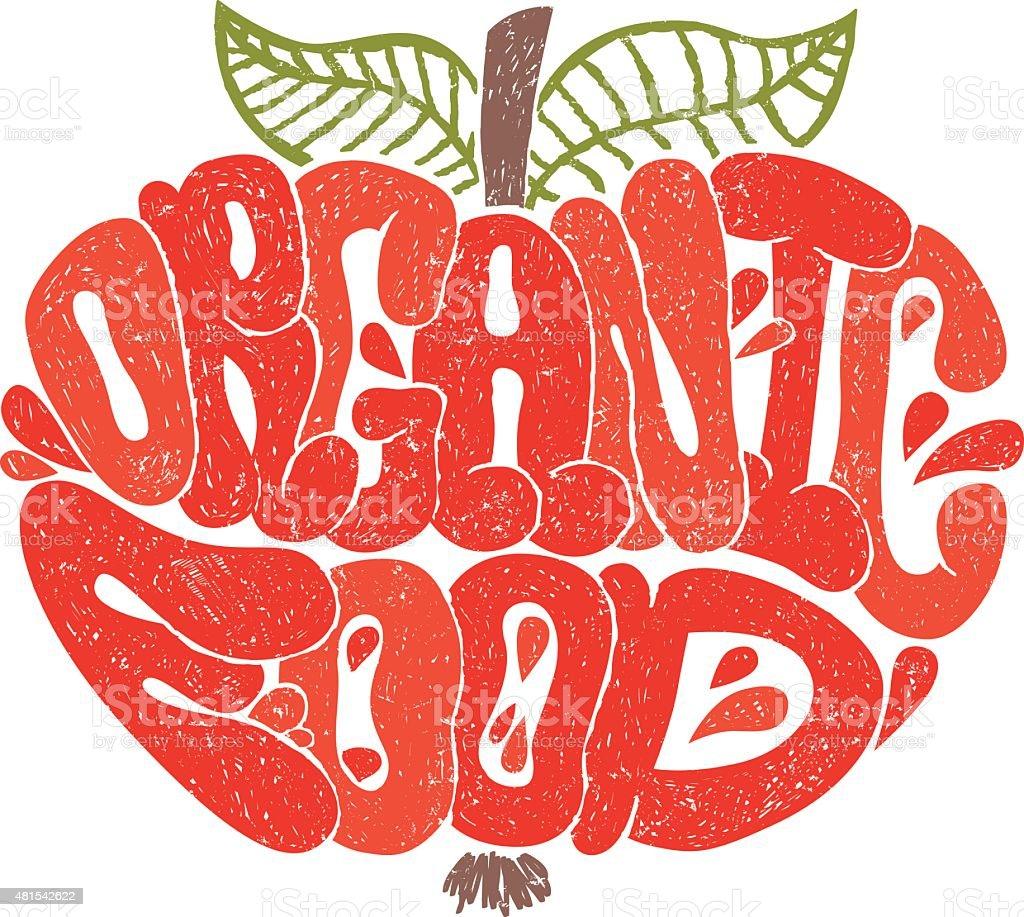 Ilustración de Alimentos Orgánicos Color Letras En Forma De Manzana ...