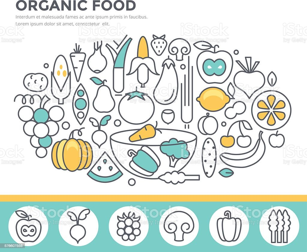 Organic food concept illustration. vector art illustration