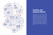 Organic Food Concept, Vector Illustration of Organic Food with Icons