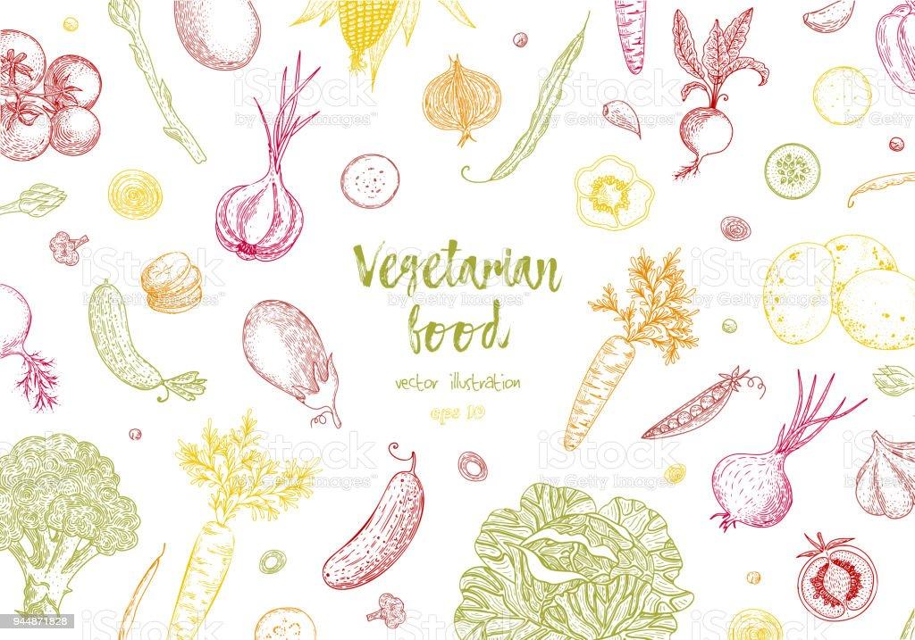 Biolebensmitteldesignvorlage Frisches Buntes Gemüse Detaillierten ...