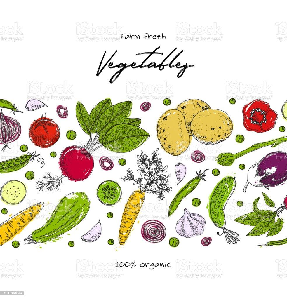 Biolebensmitteldesignvorlage Frisches Gemüse Detaillierten ...
