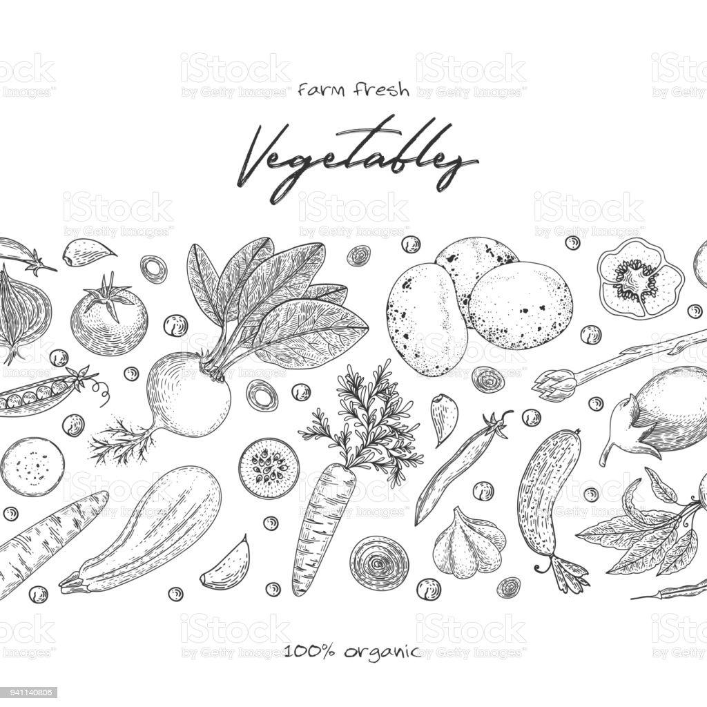 Organic Food Design Template Fresh Vegetables Hand Drawn ...