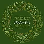 organic food hand drawn vector illustration wreath