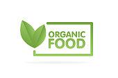 Organic food eco green leaf label sticker. Vector Illustration.