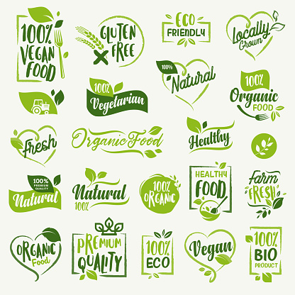 Organic food, farm fresh and natural product stickers and labels collection for food market, ecommerce, organic products promotion, healthy life and premium quality food and drink.
