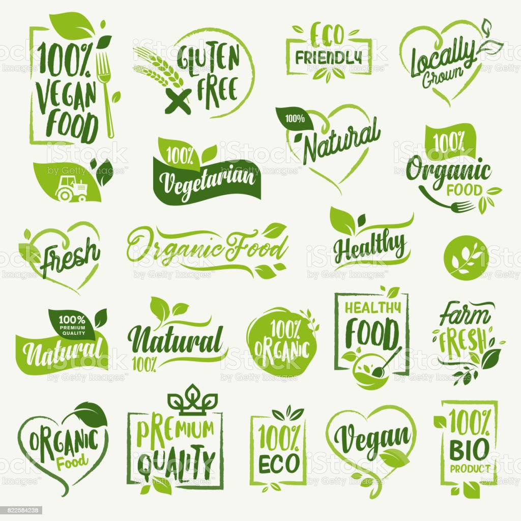 Organic food, farm fresh and natural product stickers and labels collection for food market, ecommerce, organic products promotion, healthy life and premium quality food and drink. - illustrazione arte vettoriale